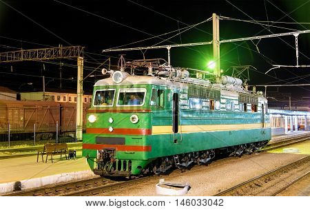 Soviet-made electric locomotive at Samarkand Station - Uzbekistan