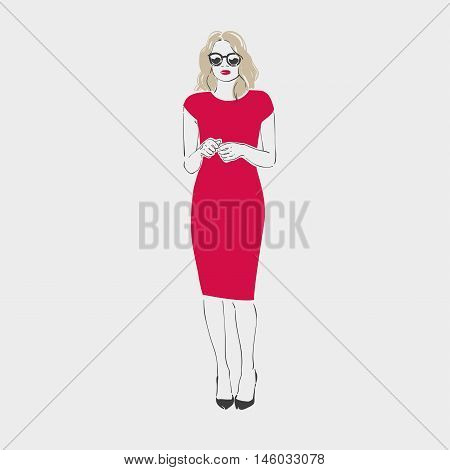 Beautiful Young Women Wih Blonde Hair In A Red Dress, Black Shoes And Sunglasses. Isolated Vector Il