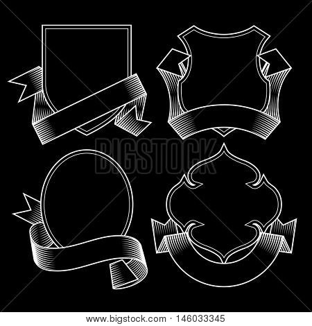 Set of white linear vintage badges with ribbon banners in engraving style on a black background. Retro design elements. Vector Illustration