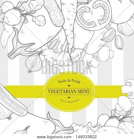 Trendy Vegetarian Restaurant Menu Design, High Detailed Vector Illustration With Radish, Carrots, Cu