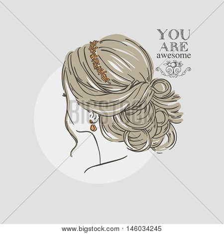 Women Hairstyle With Flower Hoop. Vector Hand Drawn Illustration.