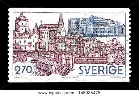 SWEDEN - CIRCA 1983 : Cancelled postage stamp printed by Sweden, that shows Helgeandsholmen.