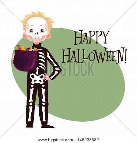 Happy boy dressed as skeleton for Halloween, cartoon style vector illustration isolated on white background. Skeleton fancy dress idea. Trick or treat Halloween card