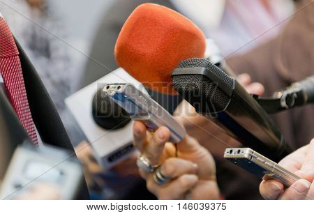 Media interview with VIP person, color image