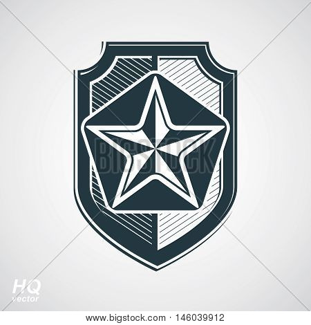 Vector shield with a pentagonal Soviet star protection heraldic blazon.