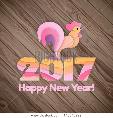 Happy new year background with rooster, symbol of 2017 on the Chinese calendar. Silhouette of pink cock, decorated with colorful strips pattern. Vector element for New Year's design