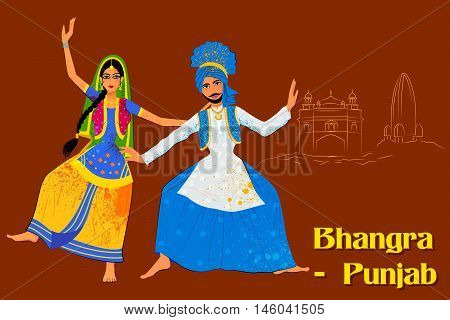 Vector design of Couple performing Bhangra folk dance of Punjab, India