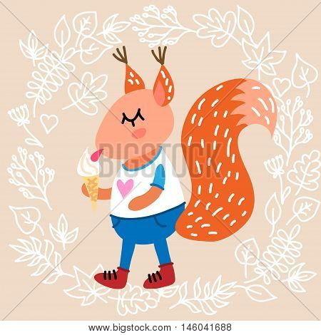 Cute squirrel on leaves background vector illustration