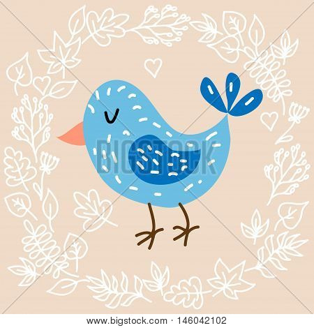Cute bird on leaves background vector illustration