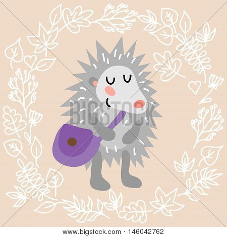 Cute hedgehog on leaves background vector illustration