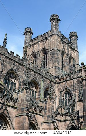 Chester cathedral in Cheshire, England on a sunny day
