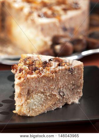 Chestnut and raisins tiramisu - prepared like standard tiramisu with the addition of pureed boiled chestnuts and raisins to the cream