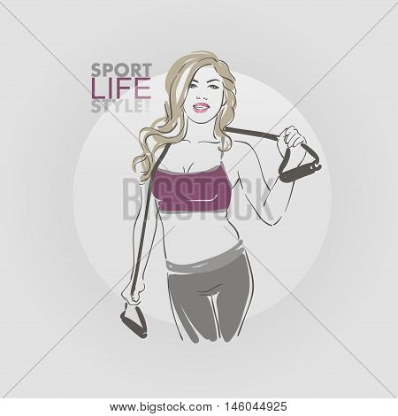 Fitness. Sporting Blonde Girl With Simulator For Stretch Marks. Eps10 Vector Hand Drawn Sketch Illus