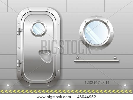 The door and window of the ship polishing metal. Perhaps the door compartment of the submarine or laboratory bank. Armor. Vector graphics