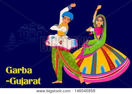 Vector design of Couple performing Garba folk dance of Gujarat, India
