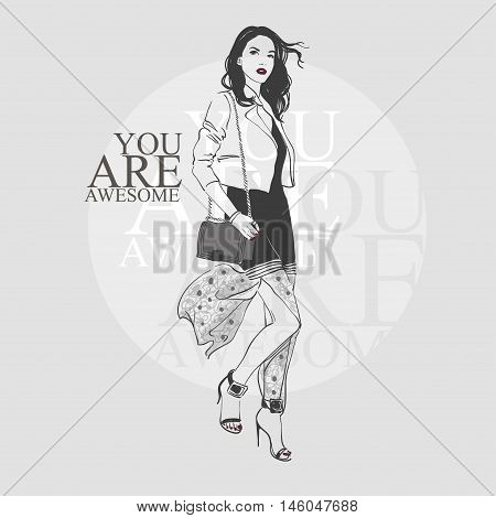 Beautiful Young Women In Black Dress, Black High Heel Shoes And White Jacket.  Vector Hand Drawn Fas