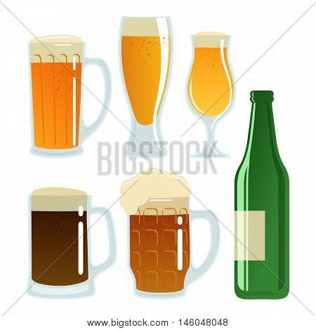 Set of beer glasses and bottle. Vector stock illustration.