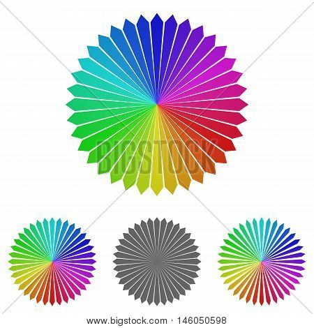 Colorful floral logo vector. Floral icon symbol design template set for nature, garden, happiness, organic, direction concepts.