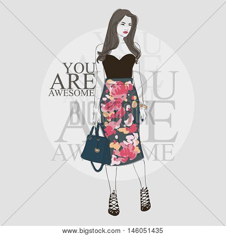Beautiful Brunette Asian Young Women In Black Blouse, High Heel Shoes And Pencil Skirt With Flower P