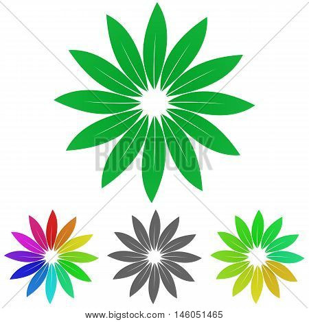 Green leaves logo vector. Leaves icon symbol design template set for biology, nature, garden, life, enviroment concepts.