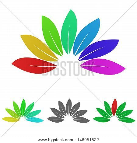 Colorful nature logo vector. Nature icon symbol design template set for plant, leaves, garden, enviroment, biology concepts.