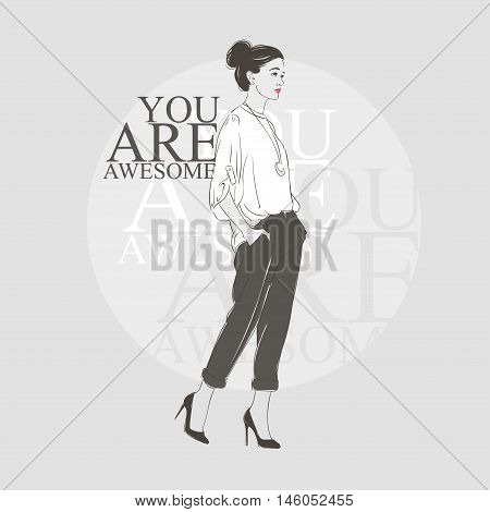 Beautiful Hipster Young Woman In A White Blouse And On High Heels. Hand Drawn Illustration. Vector I