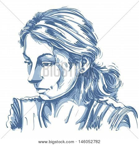 Monochrome vector hand-drawn image sad or depressed young woman. Black and white illustration of melancholic girl face expressions.