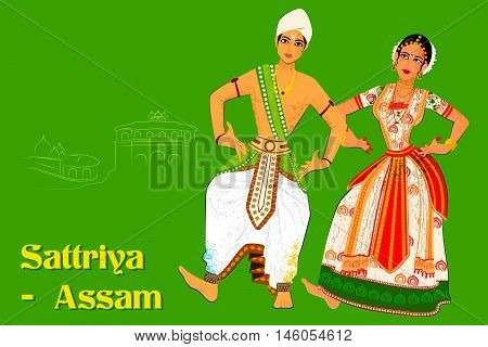 Vector design of Couple performing Sattriya classical dance of Assam, India