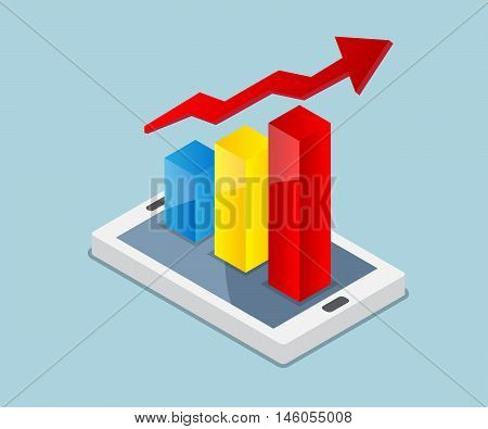 business concept bar graph on mobile smartphone vector illustration