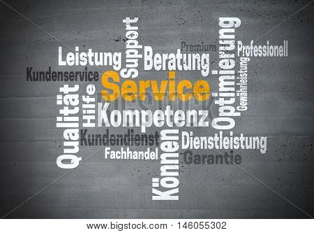 service support kompetenz (in german support competency) word cloud concept.