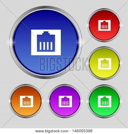 Internet Cable, Rj-45 Icon Sign. Round Symbol On Bright Colourful Buttons. Vector