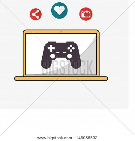 flat design laptop with game controller camera and telecommunication related icons vector illustraiton
