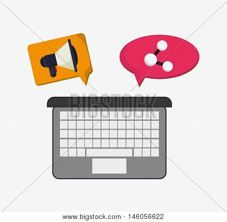 flat design laptop with megaphone and connection icon inside thought or conversation bubble telecommunication related icons vector illustraiton