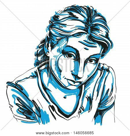 Portrait of delicate naive or blameworthy woman black and white vector drawing. Emotional expressions idea image.