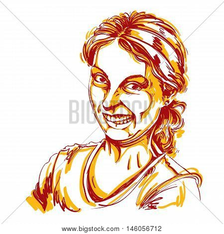 Vector drawing of woman making a funny grimace. Colorful portrait of girl making a silly face.