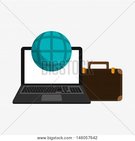 flat design laptop with earth globe diagram and briefcase telecommunication related icons vector illustraiton
