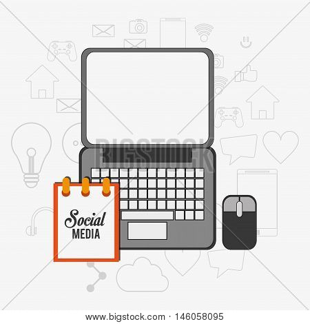 flat design laptop with social media notepad and mouse surrounded by telecommunication related icons vector illustraiton