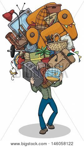 Cartoon of a Man, moving, with huge pile of things, furniture and objects balanced in hands, vector illustration