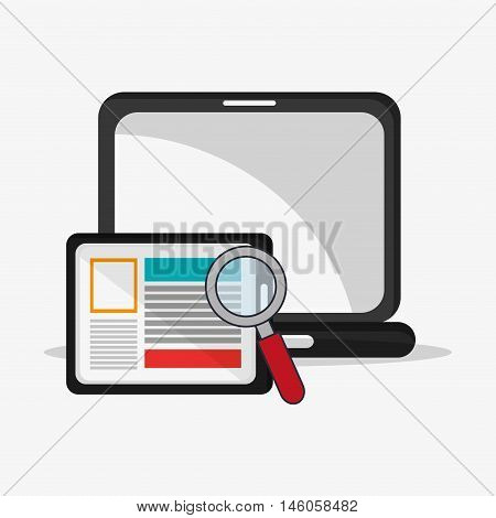 flat design laptop with magnifying glass and tablet telecommunication related icons vector illustraiton