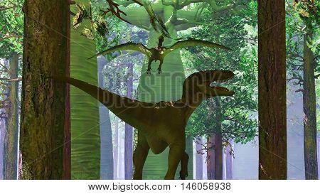Velociraptor and pterodactyl 3d rendering