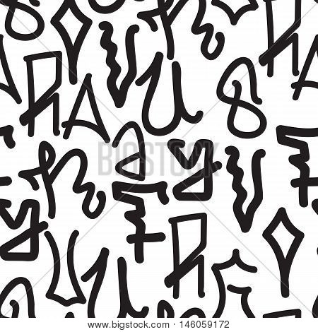 Graffiti background seamless pattern. Vector Tags, writing. Graffiti tagging hand style, old school, street art texture. Monochrome black and white colors