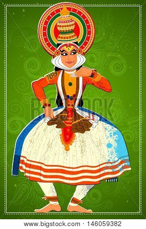 Vector design of man performing Kathakali classical dance of Kerala, India
