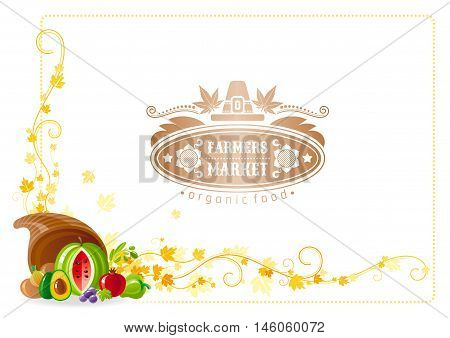 Autumn thanksgiving vector background with text lettering logo, food icon, leaf pattern. Abstract design template illustration for seasonal greeting card. Horn of plenty - watermelon, tomato, avocado