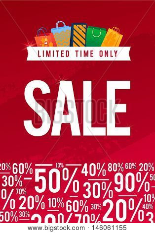 Sale Poster with percent discount illustration. Paper shopping bags and lights. Spesial Offer.
