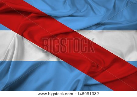 Waving Flag of Entre Rios Province Argentina, with beautiful satin background. 3D illustration