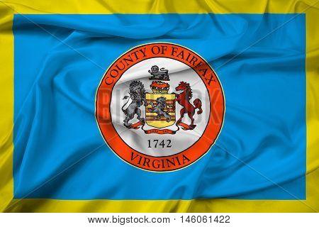 Waving Flag of Fairfax County Virginia USA, with beautiful satin background. 3D illustration