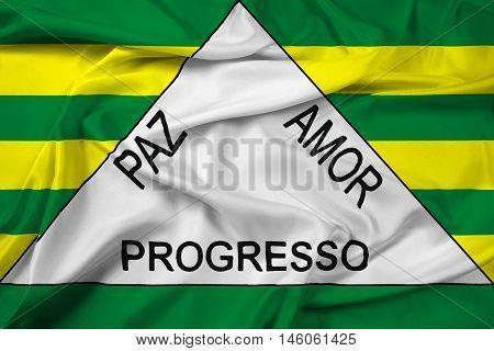 Waving Flag of Ferros Minas Gerais State Brazil, with beautiful satin background. 3D illustration