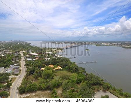Aerial drone image of Daytona and Halifax River