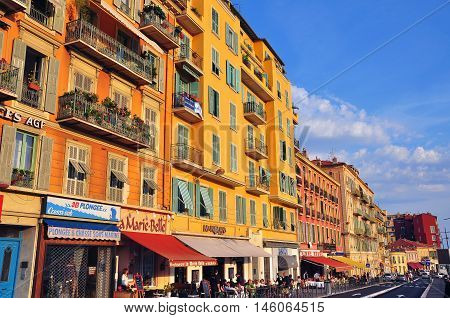 NICE FRANCE - JUNE 17: View of the street in downtown of Nice France on June 17 2011. Nice is the second popular most visited city in France.
