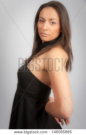 Pretty Woman Portrait Isolated On Grey Background